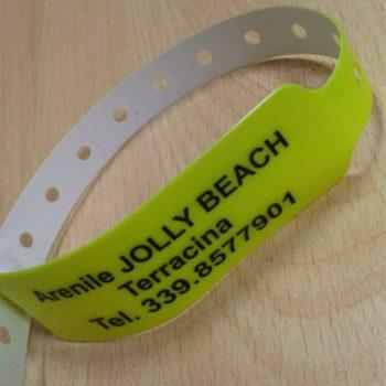braccialetto identificativo personalizzato in serigrafia ad un colore