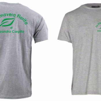 maglietta personalizzata con serigrafia ad un colore sul lato cuore e sul retro
