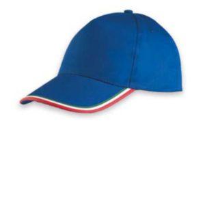 cappello con visiera personalizzato sulla parte frontale con ricamo