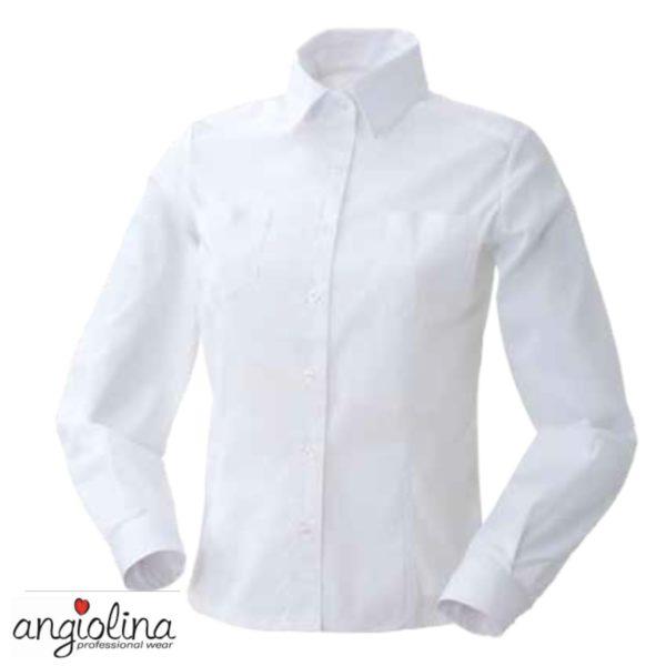 camicia da donna manica lunga con personalizzazione lato cuore con ricamo